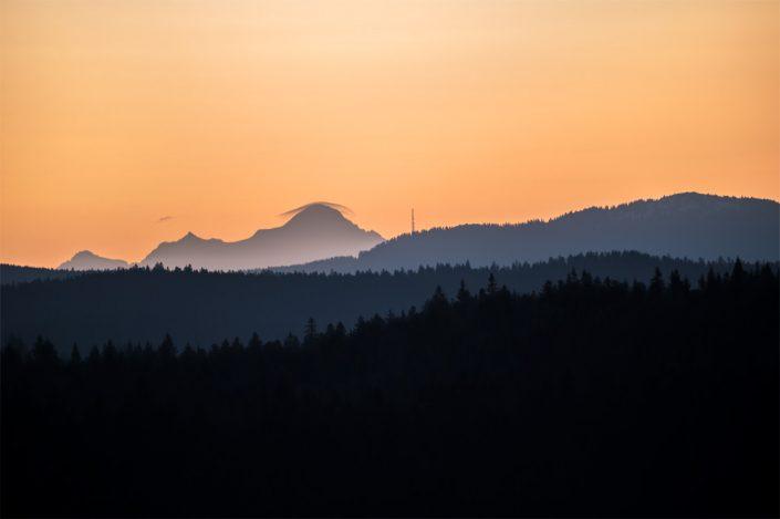 Tableau du Mont Blanc, vu depuis Jura français